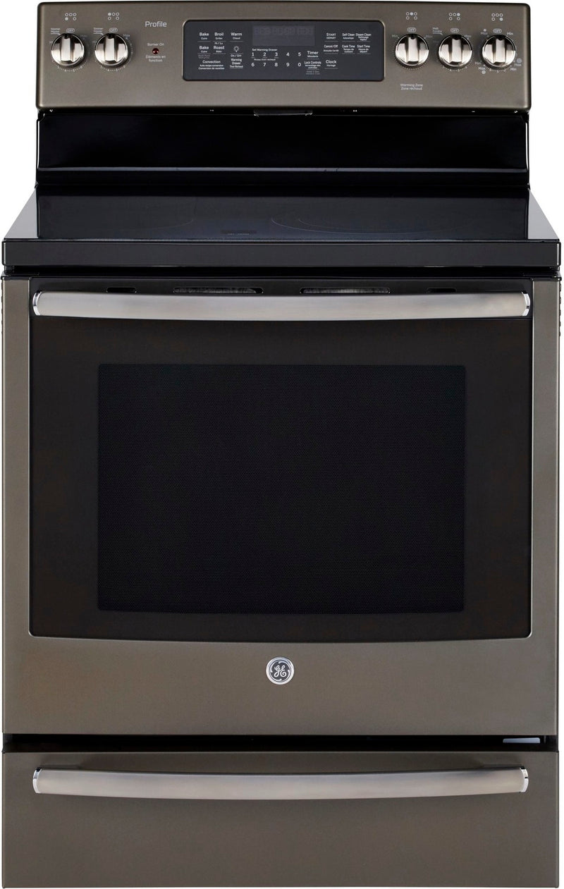 GE Profile Slate Freestanding Electric True Convection Range (6.2 Cu. Ft.) - PCB940EKES