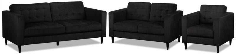 Anthena Sofa, Loveseat and Chair Set - Charcoal