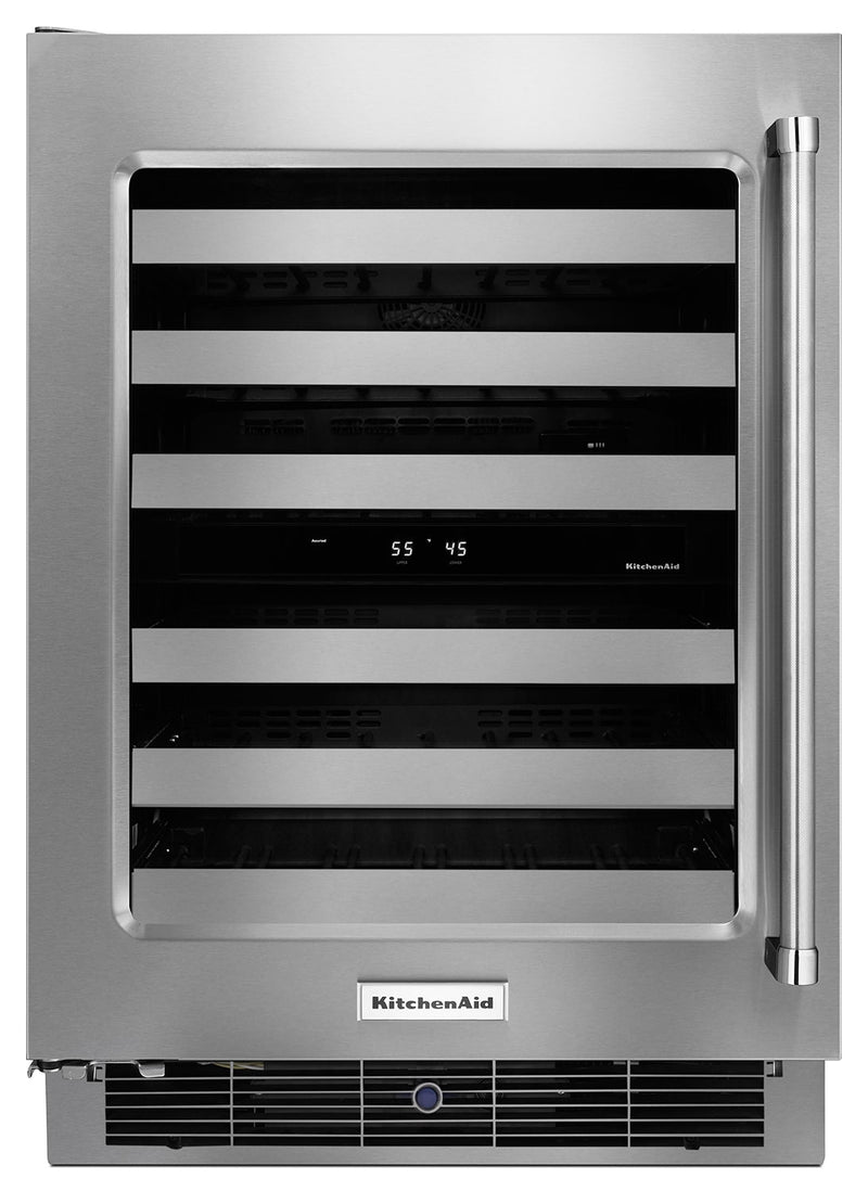 KitchenAid Stainless Steel Wine Cooler (4.7 Cu. Ft.) w/ Left-Door Swing - KUWL304ESS