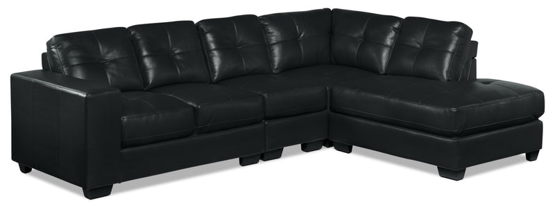 Meldrid 4-Piece Sectional with Right-Facing Chaise - Black