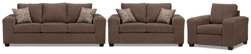 Fava Sofa, Loveseat and Chair Set - Light Brown