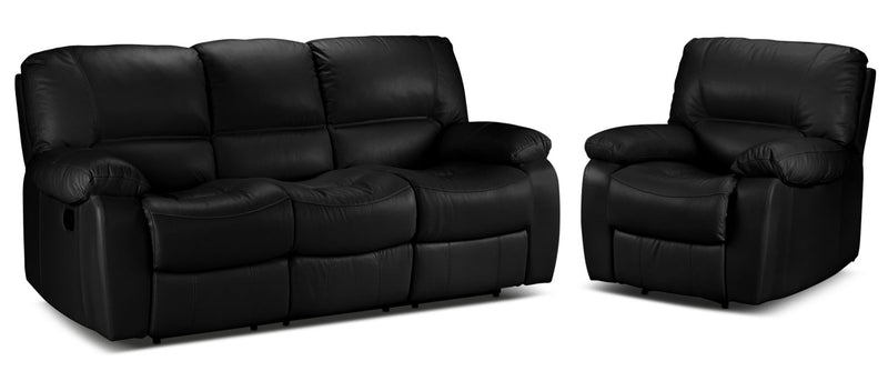 Piermont Reclining Sofa and Recliner Set - Black