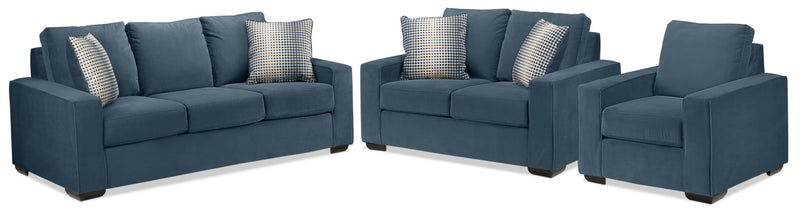 Ciara Sofa, Loveseat and Chair Set - Navy