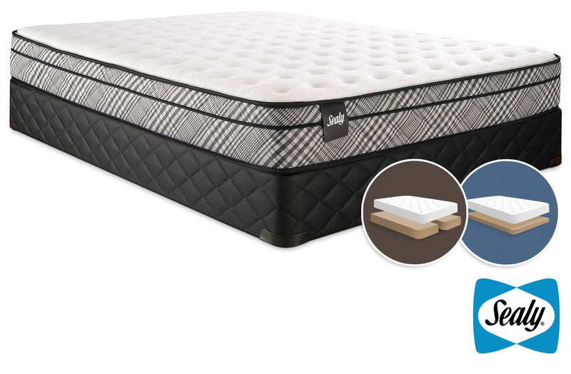 Sealy Visual Cushion Firm King Mattress and Split Low-Profile Boxspring Set