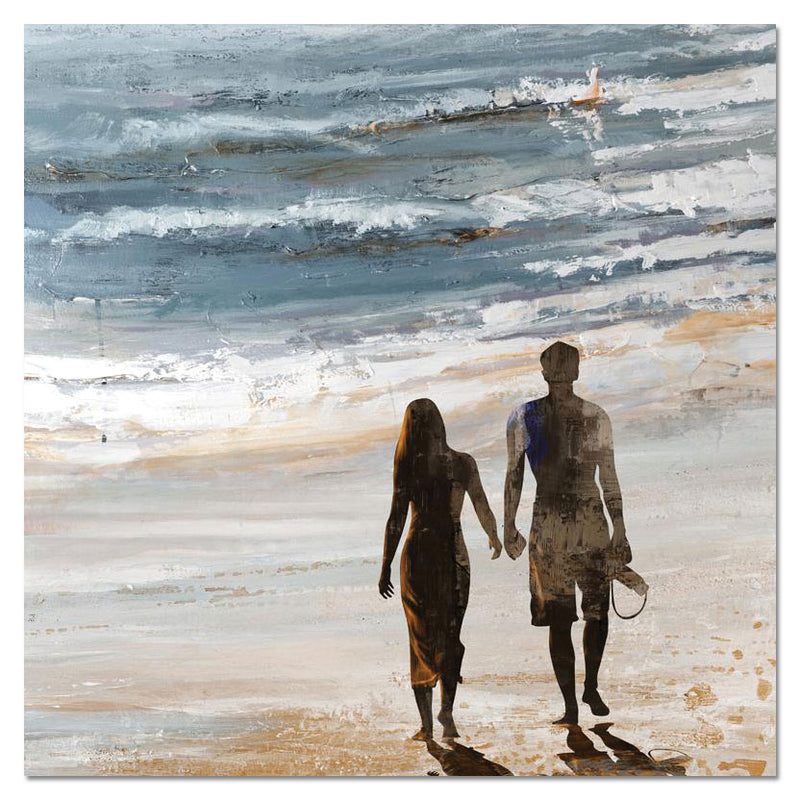 "Walk on the Beach Canvas Painting (40"" X 40"")"