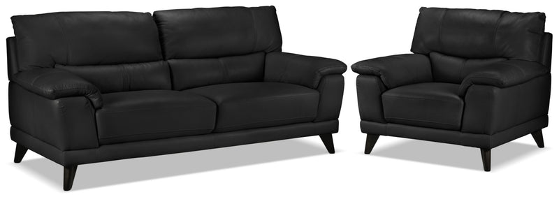 Braylon Sofa and Chair Set - Classic Black