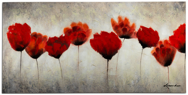 "Red Blossoms Canvas Painting (60"" X 30"")"
