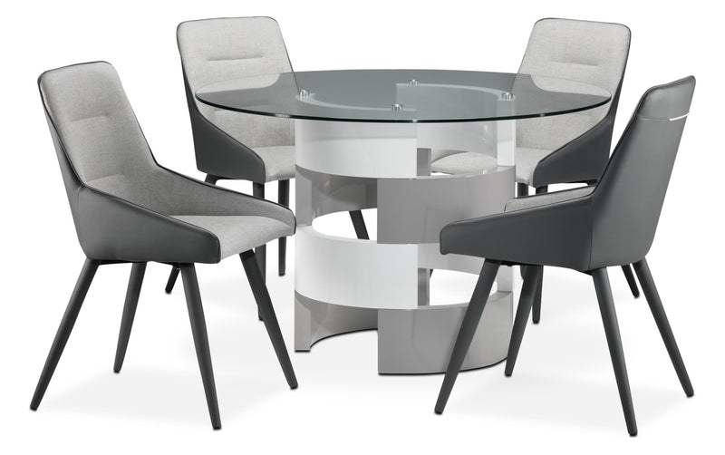 Gina 5-Piece Dinette Set - Beige and Grey