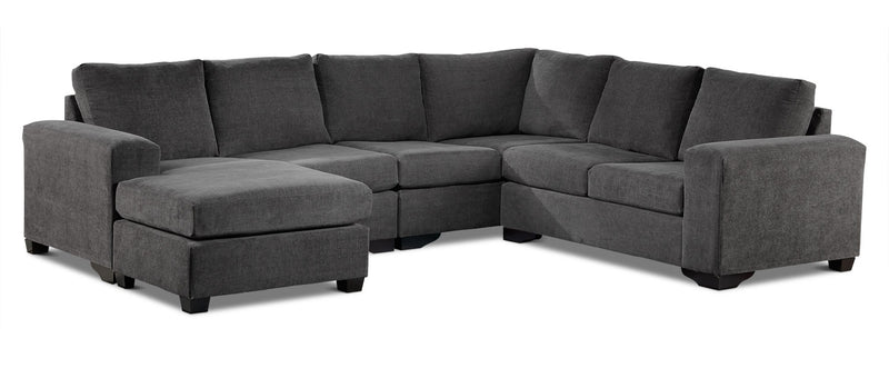 Danielle 3-Piece Sectional with Left-Facing Corner Wedge - Grey