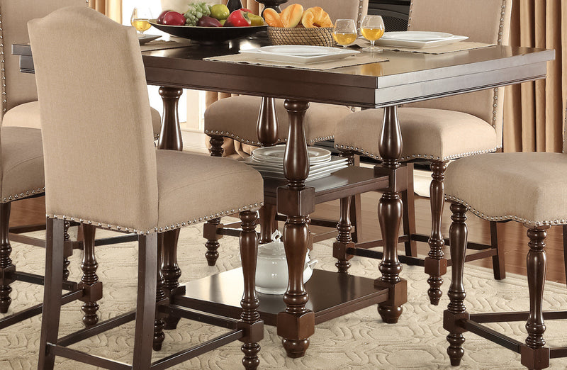 Benwick Pub-Height Dining Table - Dark Cherry