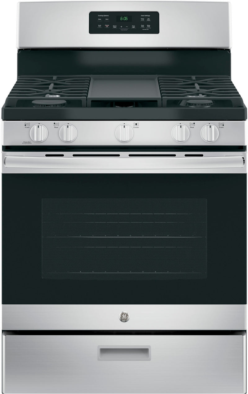GE Stainless Steel Freestanding Gas Range (5.0 Cu. Ft.) - JCGBS66SEKSS