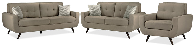 Julian Sofa, Loveseat and Chair Set - Grey