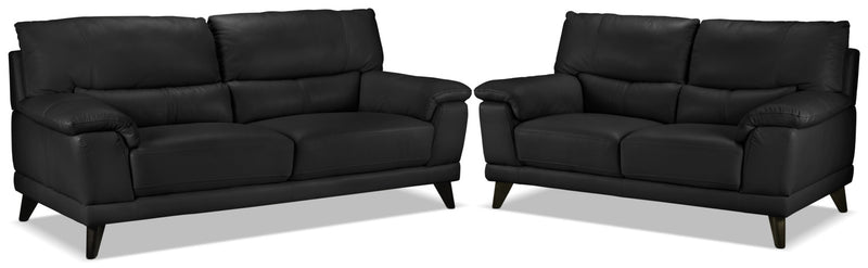 Braylon Sofa and Loveseat Set - Classic Black