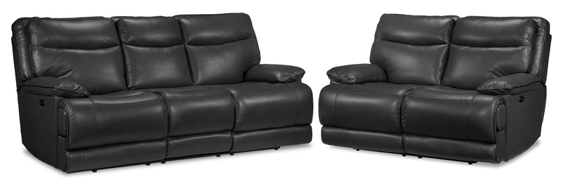 Lanette Power Reclining Sofa and Power Reclining Loveseat - Smoke Grey