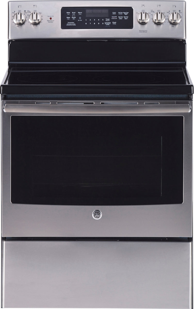 GE Stainless Steel Freestanding Electric Convection Range (5.0 Cu. Ft.) - JCB840SKSS