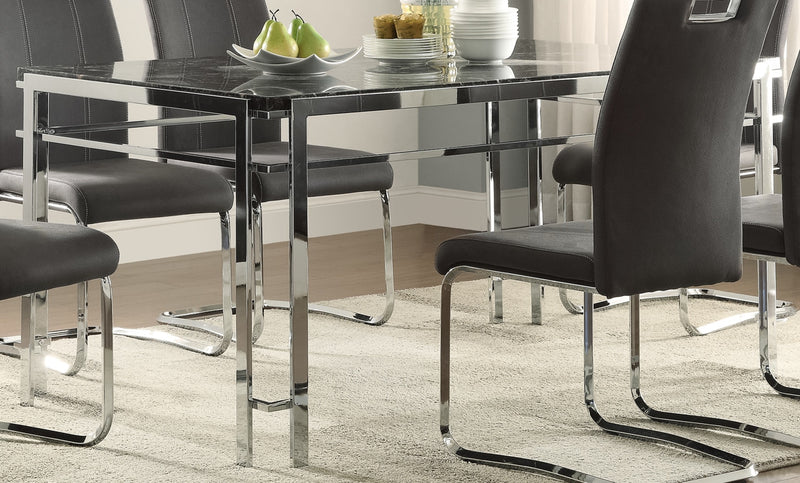 Watt Table - Faux Marble and Chrome