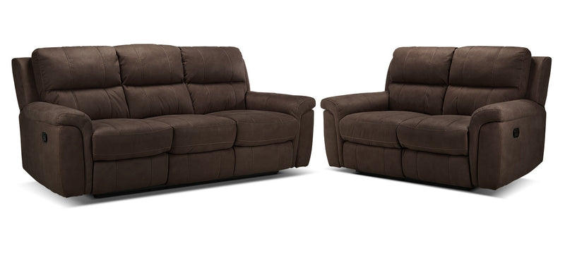 Roarke Reclining Sofa and Reclining Loveseat Set - Walnut