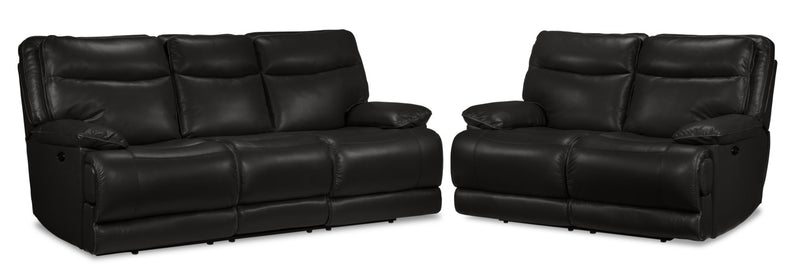 Lanette Power Reclining Sofa and Reclining Loveseat Set - Black