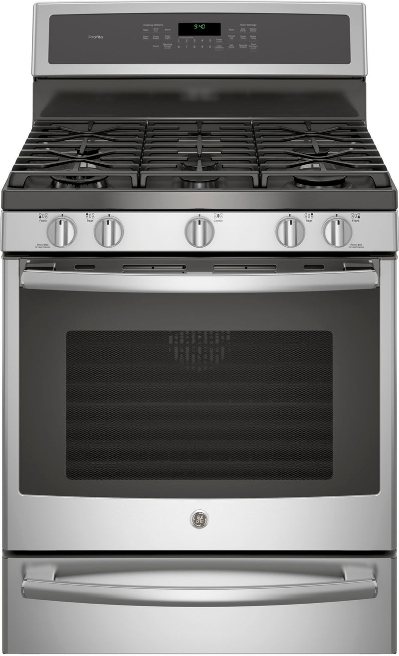 GE Profile Stainless Steel Freestanding Gas Convection Range (5.6 Cu. Ft.) - PCGB940SEJSS