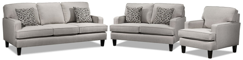 Atkin Sofa, Loveseat and Chair Set - Taupe