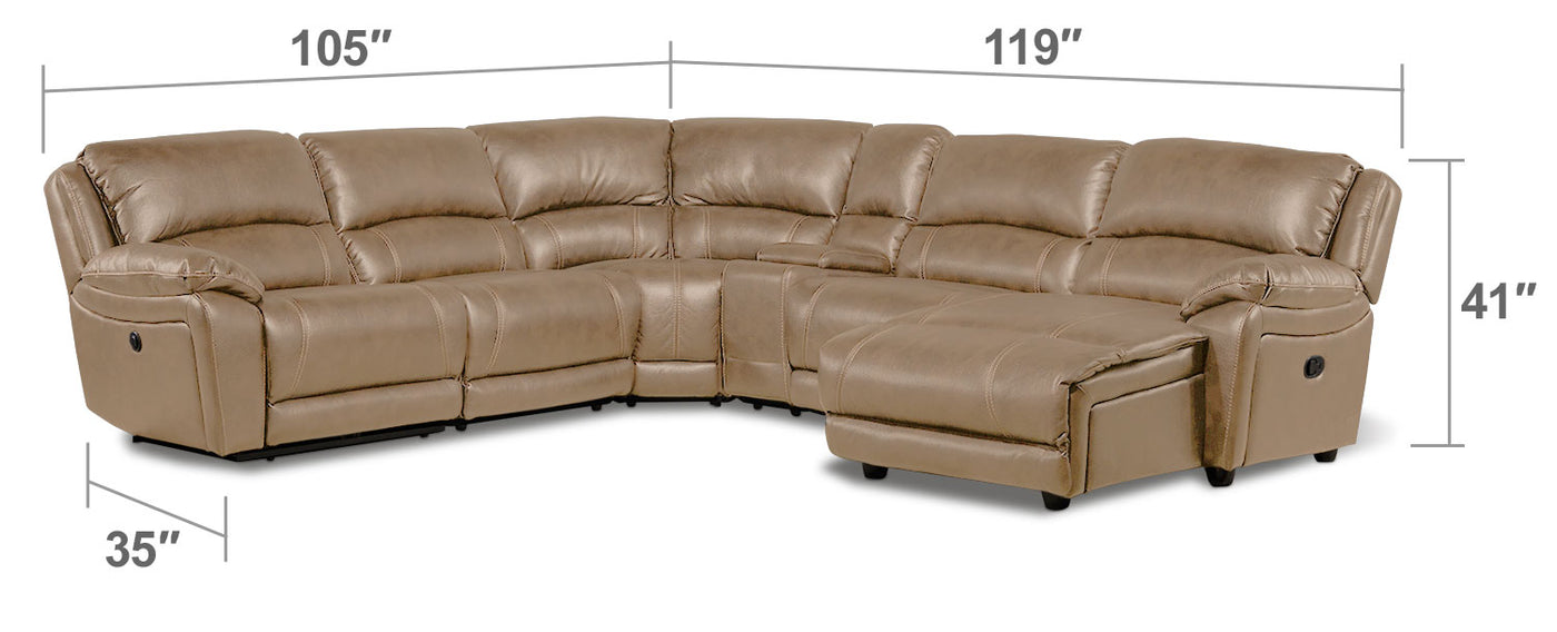 Santorini 6 Piece Power Reclining Sectional With Right