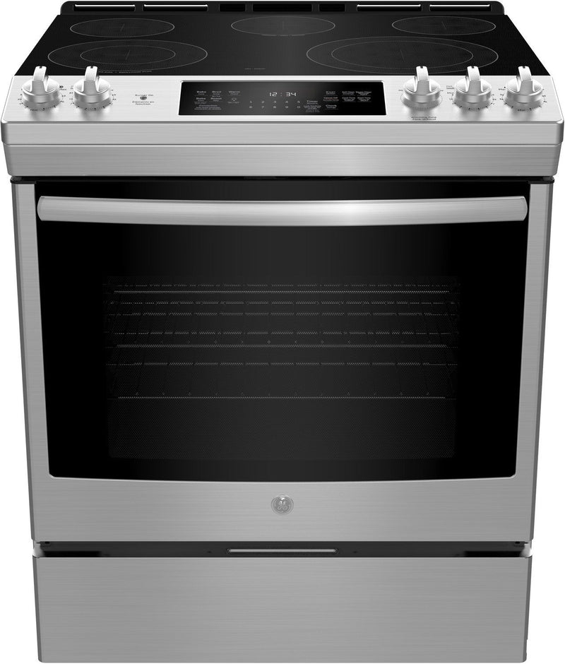 GE Stainless Steel Slide-In Electric True Convection Range (5.3 Cu. Ft.) - JCS840SMSS