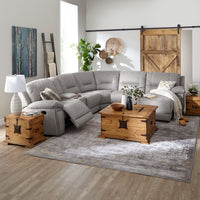 Pasadena 6-Piece Reclining Sectional with Right-Facing Chaise - Light Grey