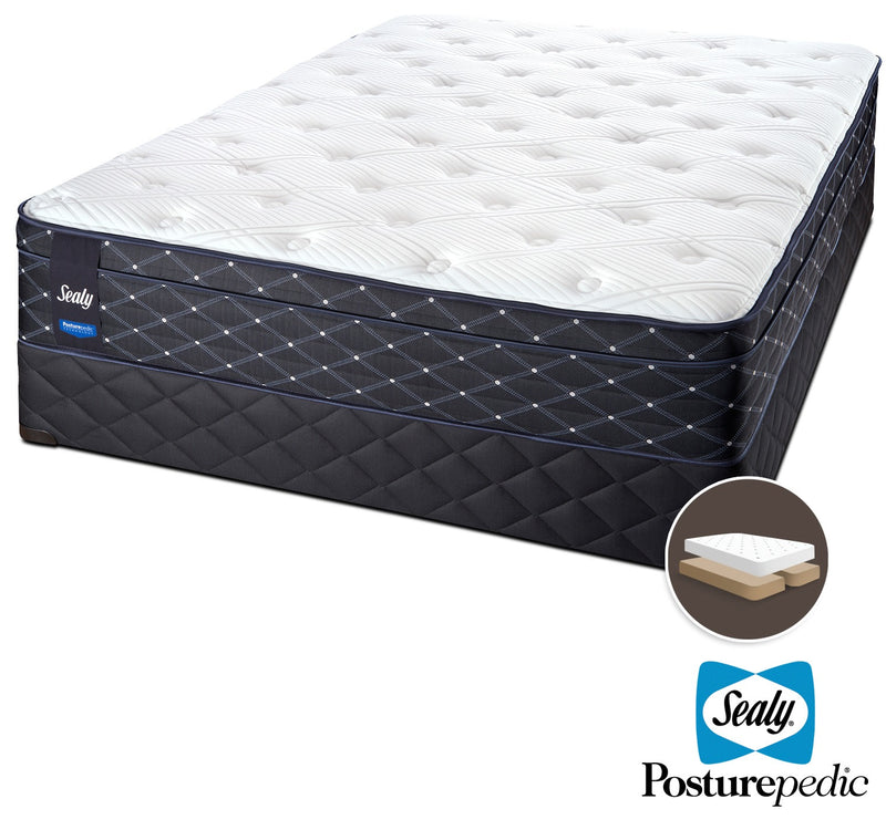Sealy Familiar Plush Queen Mattress and Split Boxspring Set