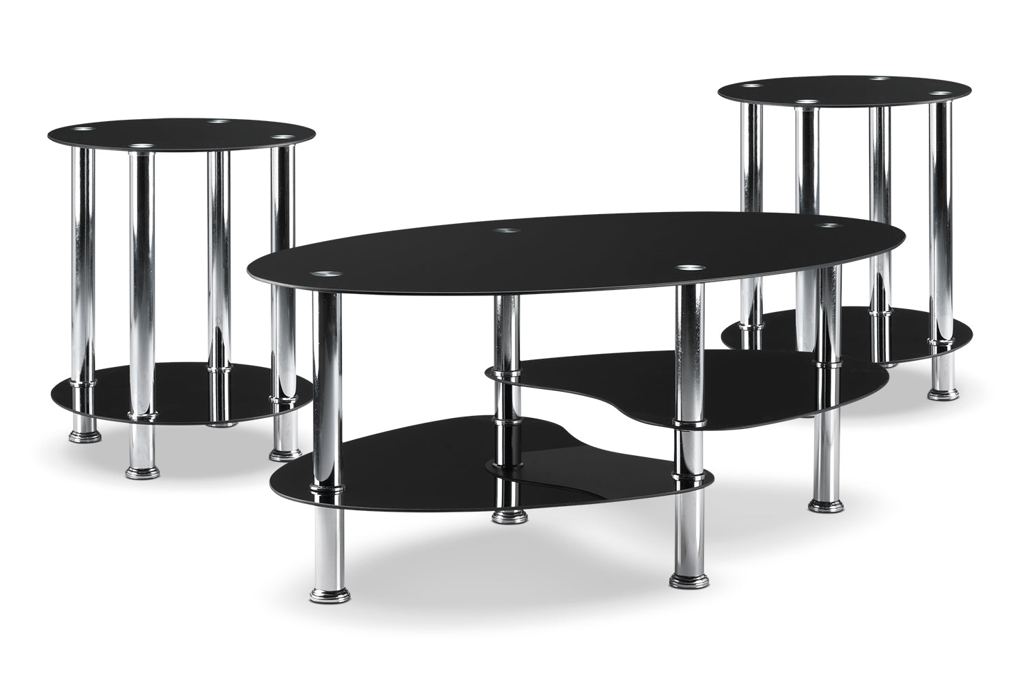 Oriana Coffee Table And Two End Tables Black Leon S