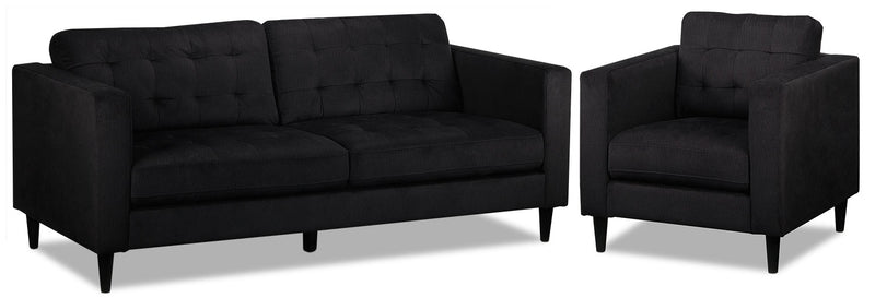 Anthena Sofa and Chair Set - Charcoal