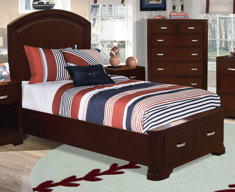 New Justin Twin Storage Bed - Deep Cherry