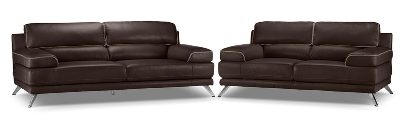 Sutton Sofa and Loveseat Set - Walnut Brown