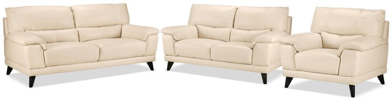 Braylon Sofa, Loveseat and Chair Set - Bisque