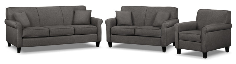 Ariel Sofa, Loveseat and Chair Set - Marmor