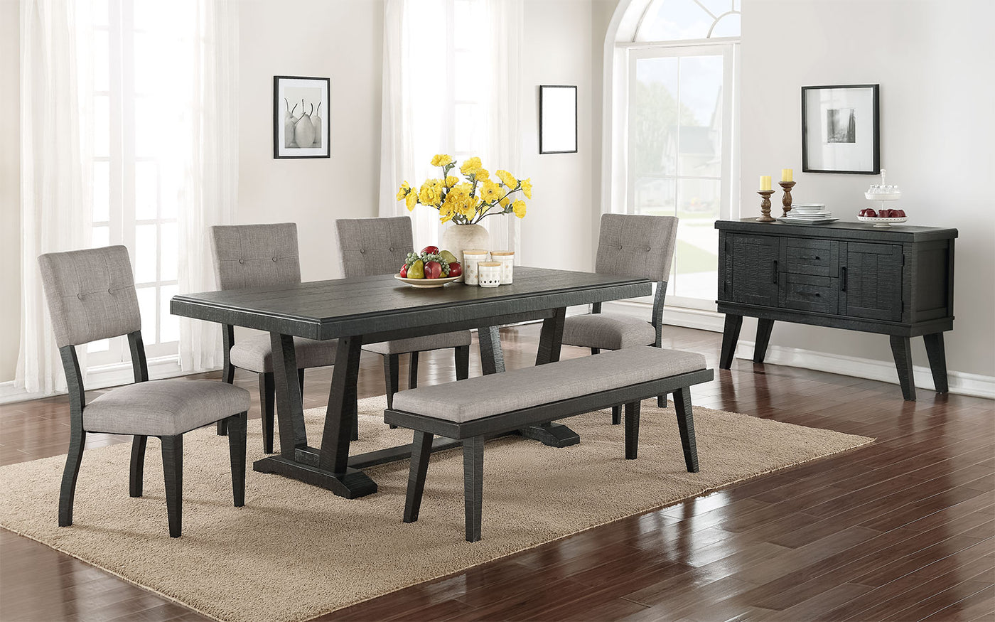 Miraculous Imari 6 Piece Dining Room Set Black And Grey Dailytribune Chair Design For Home Dailytribuneorg