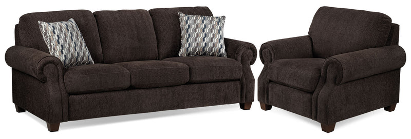 Barbara Sofa and Chair Set - Espresso