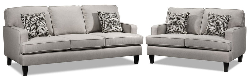Atkin Sofa and Loveseat Set - Taupe