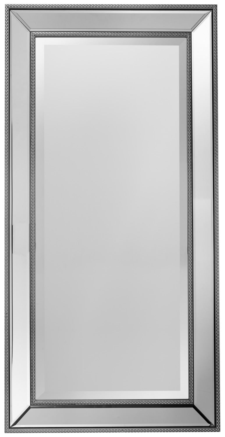 "Vedette Silver Beaded Wall Mirror (20"" x 40"")"