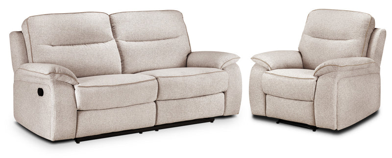 Latham Reclining Sofa and Recliner Set  - Bisque