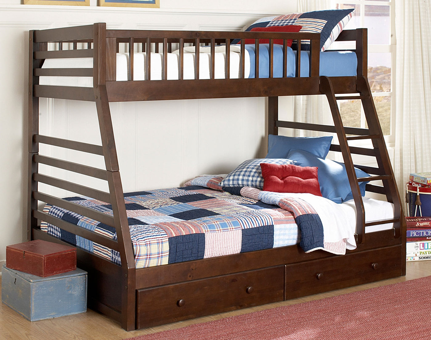 Picture of: Starship Twin Over Full Bunk Bed Chocolate Cherry Leon S