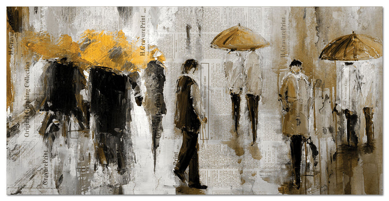 "Walk In The Rain Canvas Painting (60"" X 30"")"