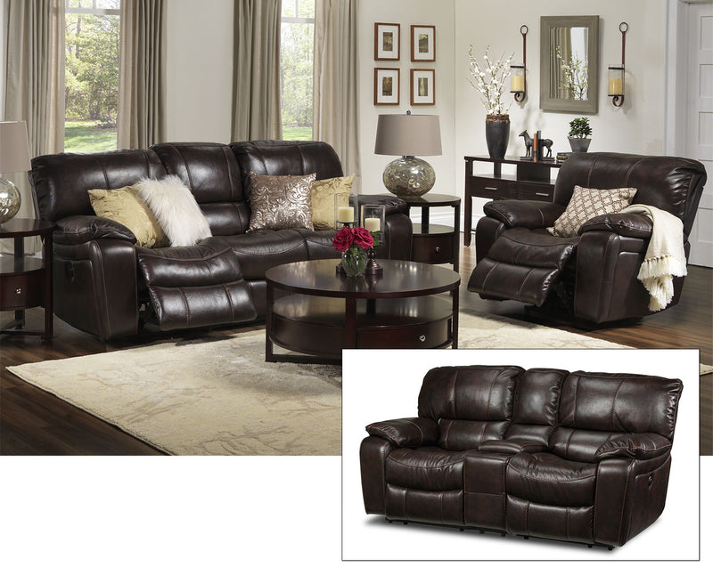 Santorini Power Reclining Sofa, Reclining Loveseat with Console and Recliner Set - Walnut