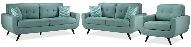 Julian Sofa, Loveseat and Chair Set - Teal