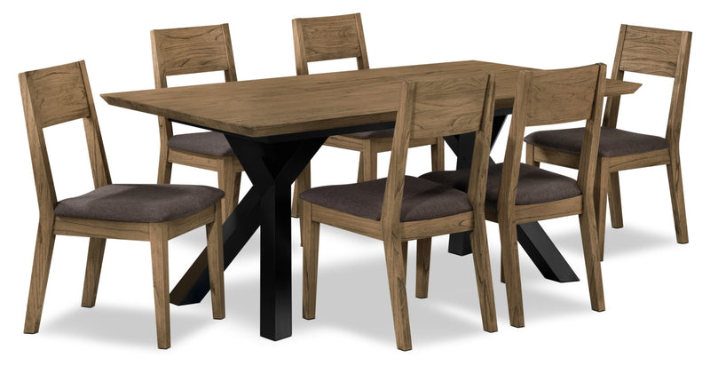 New York 7-Piece Dining Room Set - Weathered Oak and Charcoal