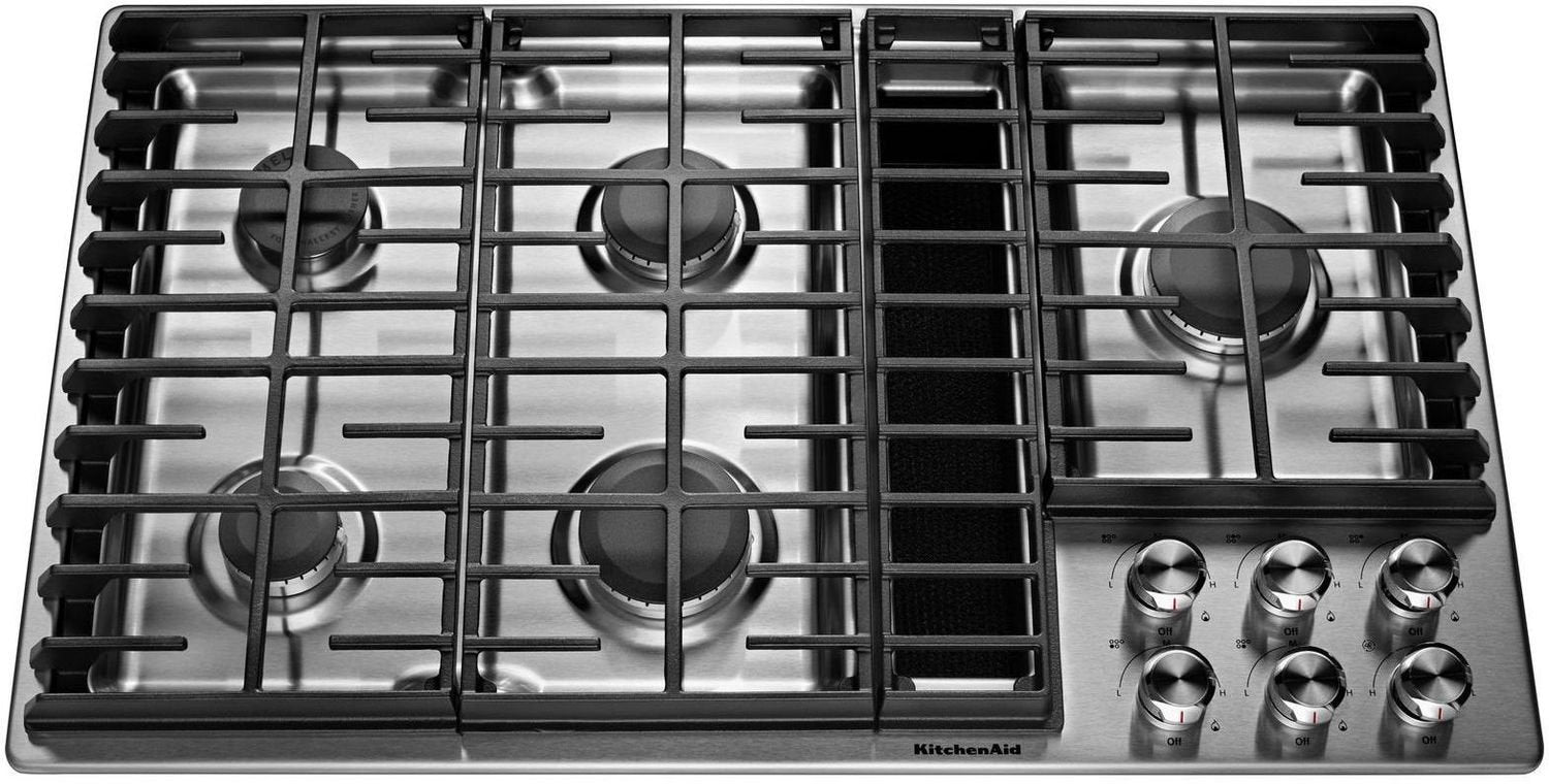 kitchenaid stainless steel 36 gas downdraft cooktop kcgd506gss rh leons ca