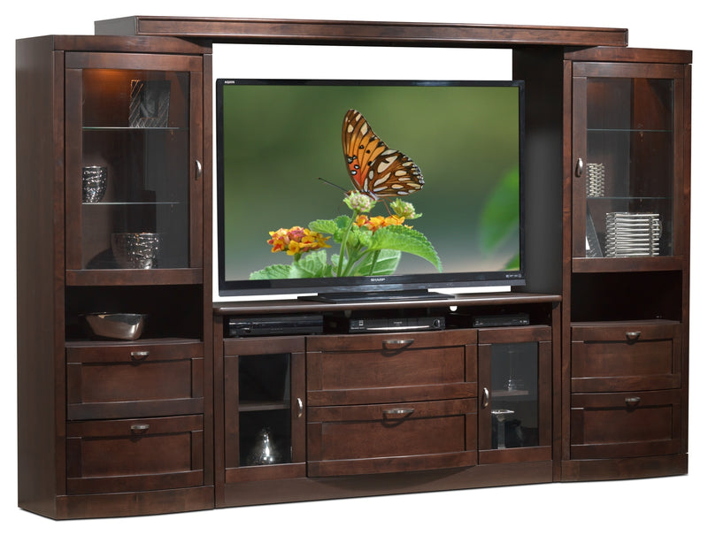 Huxley 4-Piece Entertainment Wall Unit - Java Maple