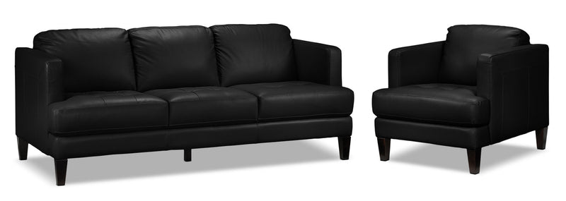 Walker Sofa and Chair Set - Black