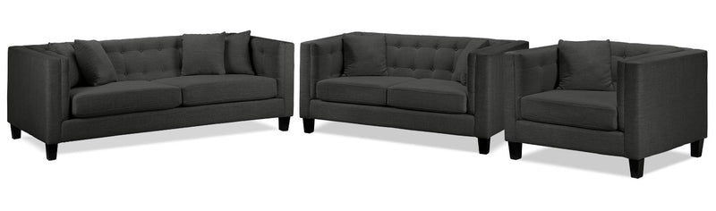 Astin Sofa, Loveseat and Chair and a Half Set - Dark Grey