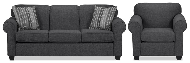Image of Aristotle Sofa and Chair Set - Graphite