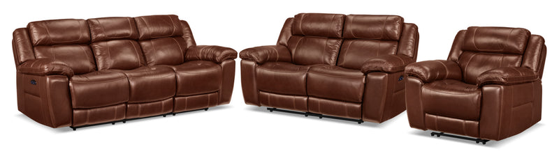 Solenn Power Reclining Sofa, Reclining Loveseat and Recliner Set - Hazelnut